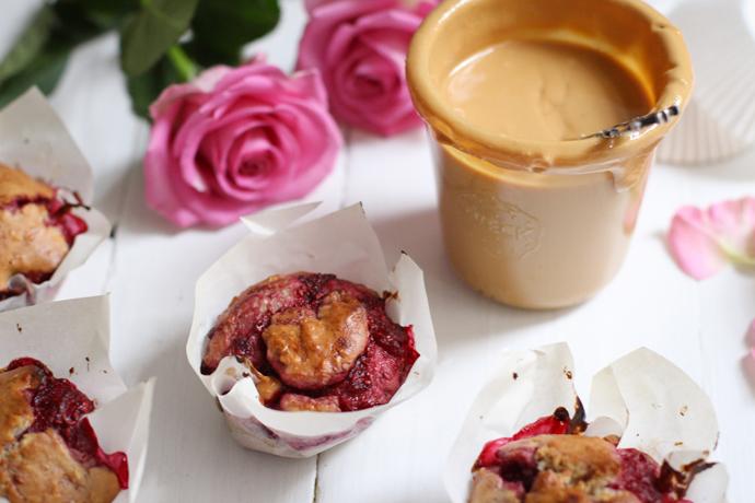 Erdnussmus-Himbeer-Muffins