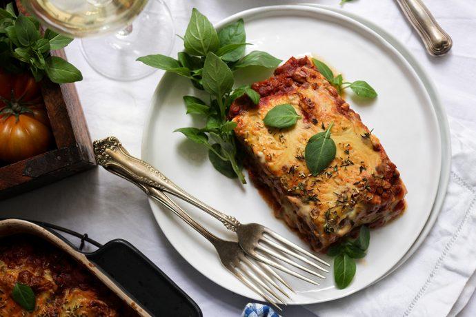 Vegane Zucchini-Linsen-Lasagne